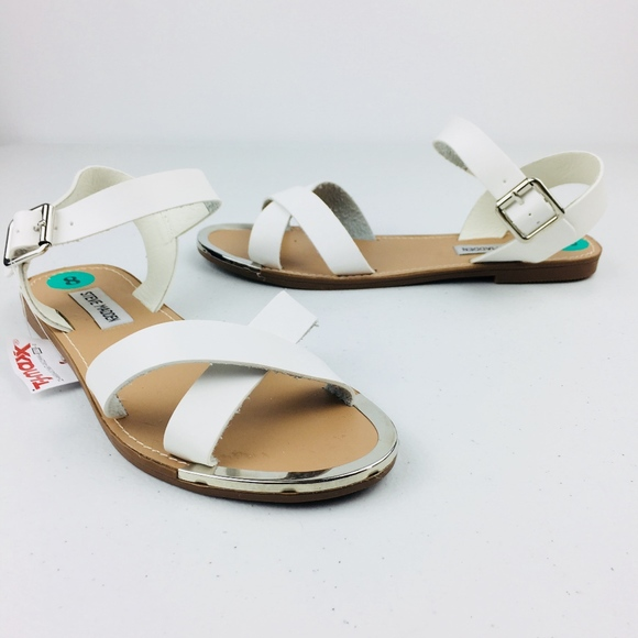 afbc9381c54 NEW White Ankle Strap Sandal with silver toe NWT